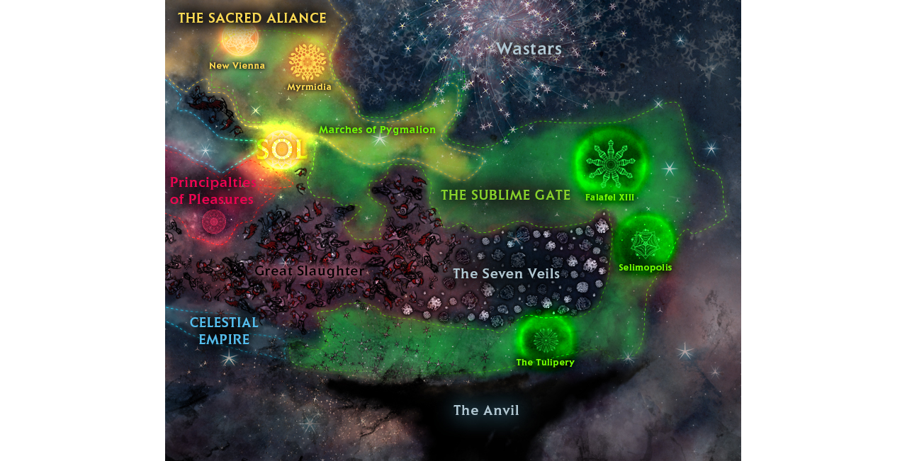 An overview of the galaxy in Conflicks: Sublime Gate