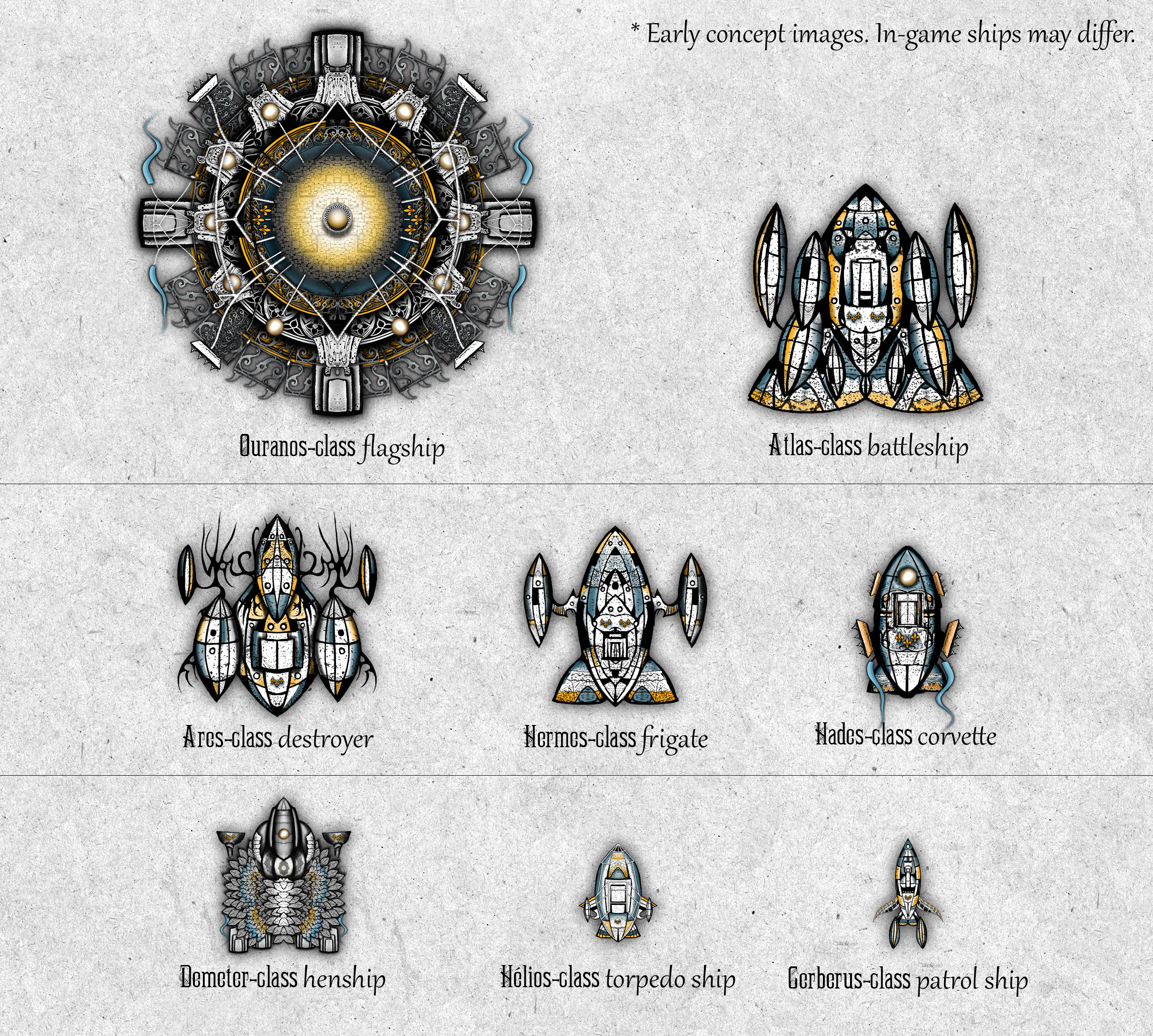 An overview of the ships in Conflicks: The Celestial Empire
